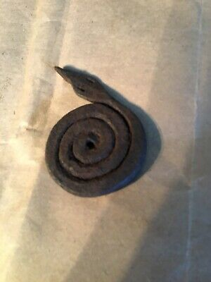 Hand Forged Iron Folk Art Coiled Good Luck Southern Snake Great Shape 3 Inch