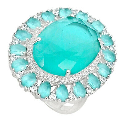 Liquidation Sale 16.83cts natural aqua chalcedony topaz ring size 6.5 a96128