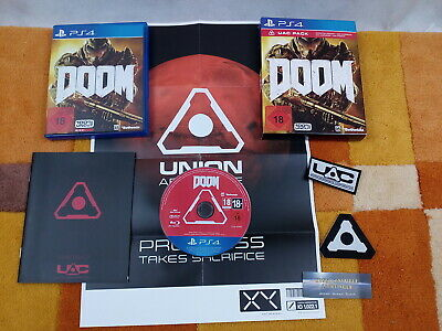 Doom UAC Pack PS4 / Playstation 4 USK18 + Poster + 2 Aufnäher +Handbuch Sehr Gut