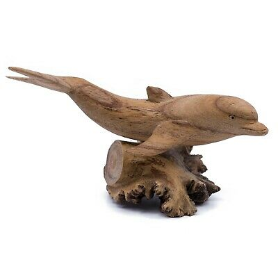 "Unique Hand Carved Dolphin On Parasite Wood Figurine Carving 6.25"" Long New"