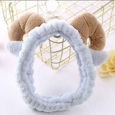 Lovely Ram Horn Bath Spa Make Up Soft  Hairband Shower Hair Band Wrap Headband W