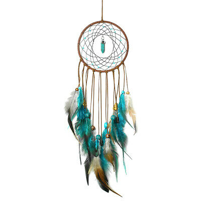 Large Blue Feathers Dream Catcher Car Wall Hanging Home Decor Ornament Craft