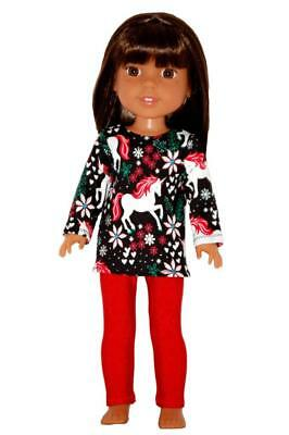 """Unicorn Pants & Top for 14.5"""" Wellie Wishers Glitter Girls Doll Clothes TKCT red"""
