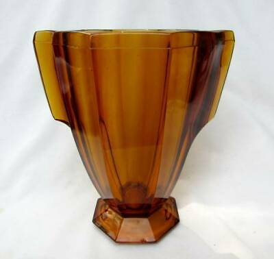 Signed Art Deco amber glass panelled footed vase Czech Bohemian 1930's
