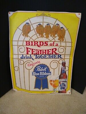 """Vintage Pabst Blue Ribbon Pbr Birds Of A Feather Poster 17""""×13"""""""