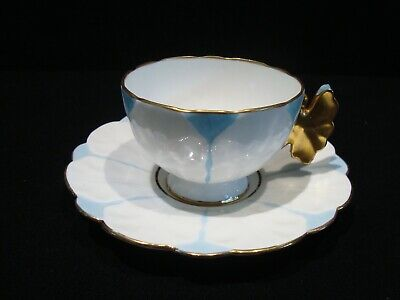 Vintage Aynsley Bone China England Butterfly Pastel Blue White Cup & Saucer Set