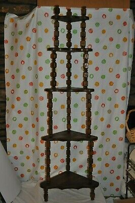 "Vtg Mid Century Wooden OaK Spindle 5 Tier 61"" Tall Corner Display Shelf Curio"