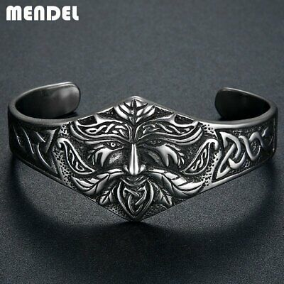 MENDEL 8 Inch Mens Stainless Steel Ancient Norse Viking Cuff Bracelet Bangle Men