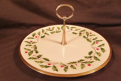 Lenox Holly Berry Serving Plate TidBit Platter Holiday Gold Rimmed Made in USA