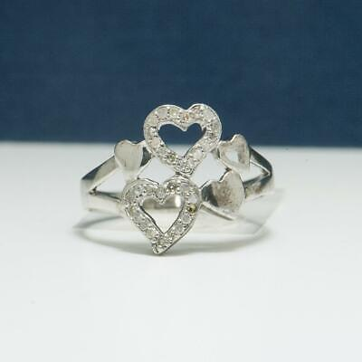 Vintage .32ctw Diamond .925 Sterling Silver Multi Heart Cluster Ring