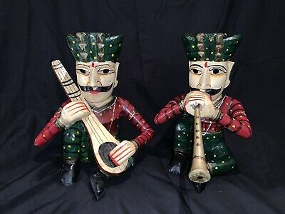 Pair Of Large Old Hand Carved / Painted Indian Musical Musicians Varnished India