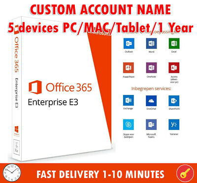 Microsoft Office 365 E3 ✅ 5 Devices 1 Year Subscription -PC/MAC/Mo ✅ Custom Name