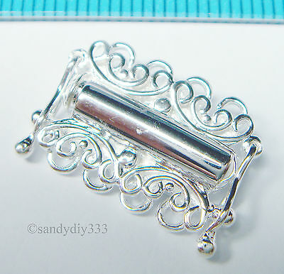 1x BRIGHT STERLING SILVER 4-STRAND BUTTERFLY BOX CLASP 17.4mm  N622