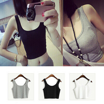Women's Sleeveless Summer Bustier Crop Top Vest Casual Tank Tops Blouse Hot
