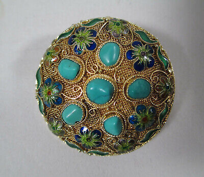 Antique Chinese Asian Silver & Gold Filigree Enamel Turquoise Brooch Pin