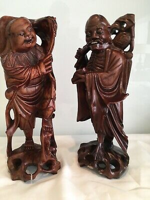 Pair Of Antique Carvwed Wood Chinese Figures