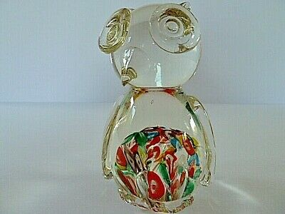 VINTAGE MURANO ART GLASS OWL BIRD FIGURE---13cm TALL