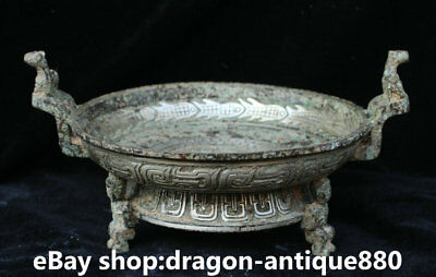 "10"" Antique Old Chinese Bronze Silver Ware Dynasty Beast Incense Burner Censer"