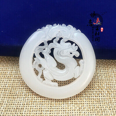 100% Chinese Natural Hand-carved White Jade dragon Hollow-out Pendant necklace