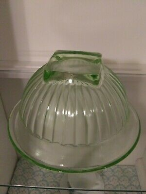Vintage Vaseline Uranium Depression Glass Green Mixing Bowl w/Rolled Edge