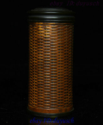 Old Chinese Folk Boxwood wood Carved Tea can caddy canister Jar Pot