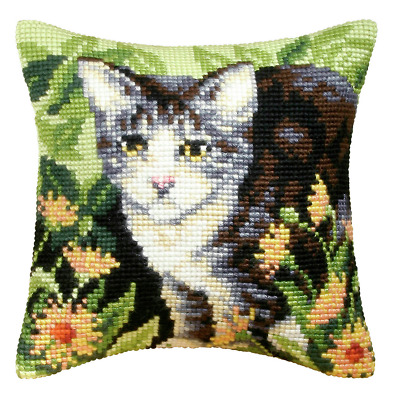 Orchidea Cross Stitch Kit - Cushion - Large -  Cat - Needlecraft Kits