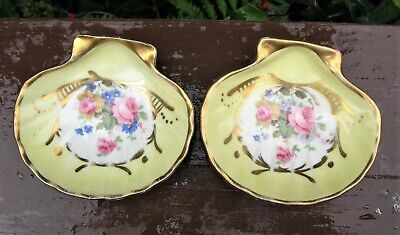 Vintage Hand Painted Amoges Pair of Porcelain Vanity Dishes