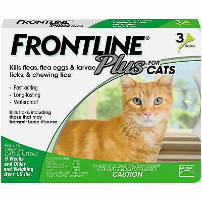 Frontline Plus for Cats (1.5 Pounds and Above) Flea and Tick Treatment, 3 Doses