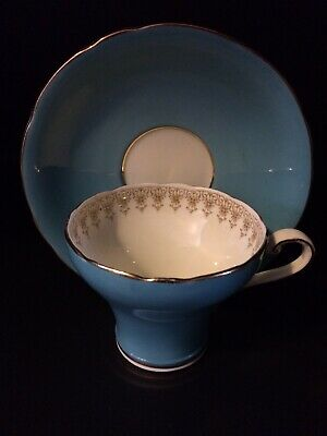 vintage aynsley England Bone China Teal Tea Cup And Saucer