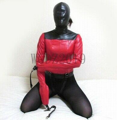 Bondage Straight Jacket Costume BODY HARNESS Hood Mask Restraint Armbinder BDSM