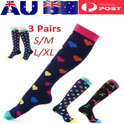 Women Men Compression Socks Medical Nursing Travel Flight Sports Stocking Retro