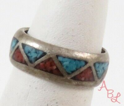 Sterling Silver Vintage 925 Inlay Turquoise & Coral Ring Sz 4.5 (3.5g) - 774286