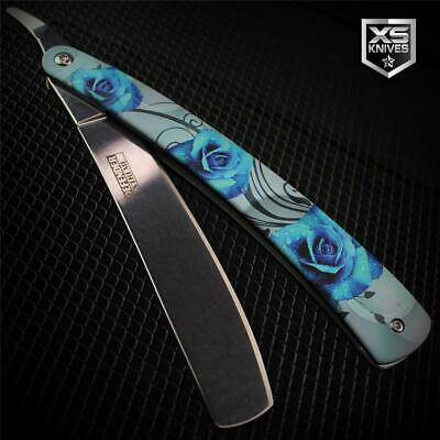 BLUE ROSES Metal Barber STRAIGHT RAZOR Classic Cut Throat Knife Shaving Rasoi