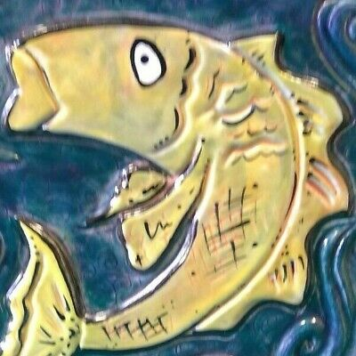 Vintage Mid-Century Fish FOLK ART TILE~Raised Outline~Ceramic~Strong Graphic~EX!