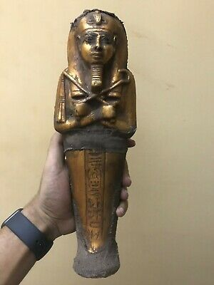 RARE EGYPTIAN EGYPT STATUE Antique KING TUT Gold Plated Ushabti Mummy Stone BC