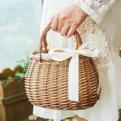 Women Vintage Rattan Bag Beach Straw Tote Round Barrel Shape With Scarf