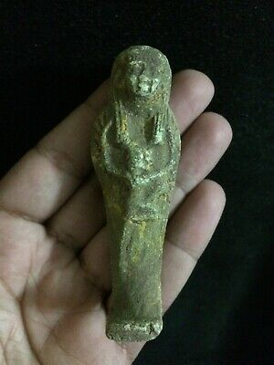 RARE EGYPTIAN EGYPT STATUE ANTIQUES God Shabti Small Faience Carved STONE BC