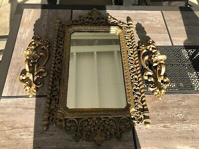 Vintage Victorian Homco #2041 Syroco Resin Framed Wall Mirror Ornate Gold W/....