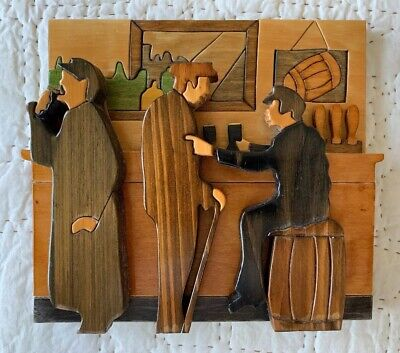 Handcrafted Wood 2D Irish Bar Scene Signed By Artist - Puckane (Nenagh) Crafts