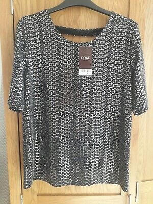Ladies Sparkly To Size 10 Next New Black Short Sleeve New