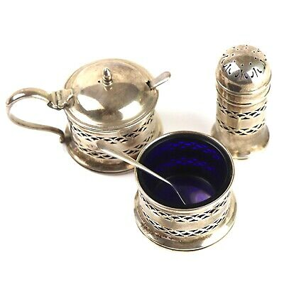 A Very Nice Antique / Vintage Fully Hallmarked Solid Sterling Silver Cruet Set