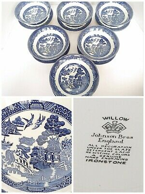 """Johnson Bros Hand Engraved Ironstone 6"""" Bowls & 6"""" Plates Blue Willow 16 Pc Lot"""