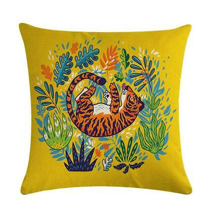 Animal Tiger Print Linen Pillow Cover Sofa Cushion Covers Pillow Protectors W