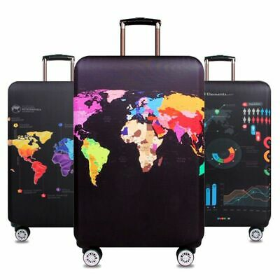 Travel Luggage Cover World Map Stretch Fabric Trolley Baggage Bag Elastic Cases