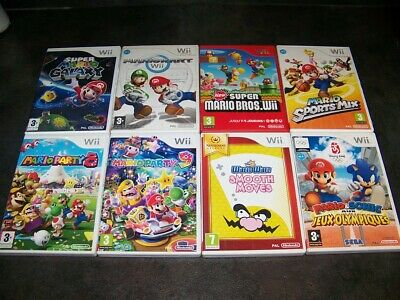 Lot Jeux Nintendo Wii Wiiu Mario Kart Mario Party Super Mario Bros ...