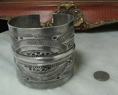 Antique Victorian Sterling Silver Super Heavy Rare Woman's or Man's Bracelet