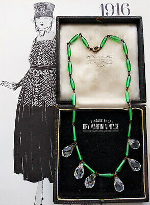Antique Art Deco Bohemian Czech Necklace Green Clear Crystal Glass Droppers Gift