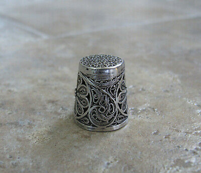 EC GORGEOUS ORNATE Vintage Sterling Silver Sewing Thimble