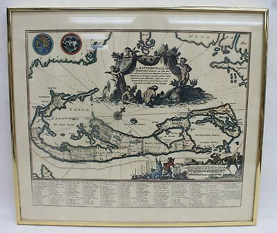 PISCES Framed Map Of Bermuda In 1670 By John Ogilby Printed By Island Press