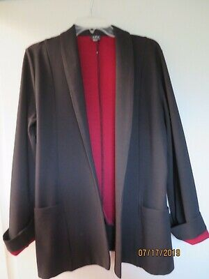 Camilla Olson Women's Black Jacket w/red lining, trim -Size XL Career/Casual EUC